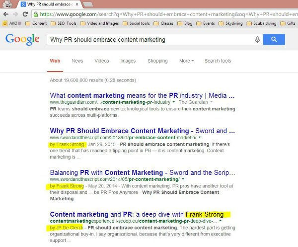 PR embrace content marketing google authorship