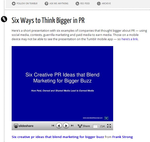 Embedded SlideShare Presentation on Tumblr.