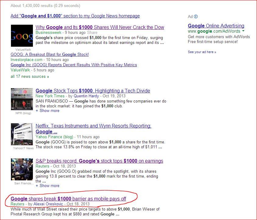 Google $1,000