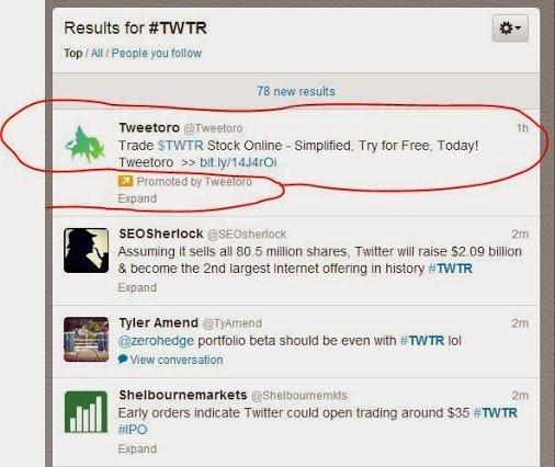 Twitter IPO, sponsored tweet