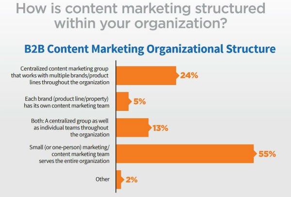 55% of respondents said their organization had a small team, or just one person, dedicated to the content marketing needs of the entire organization