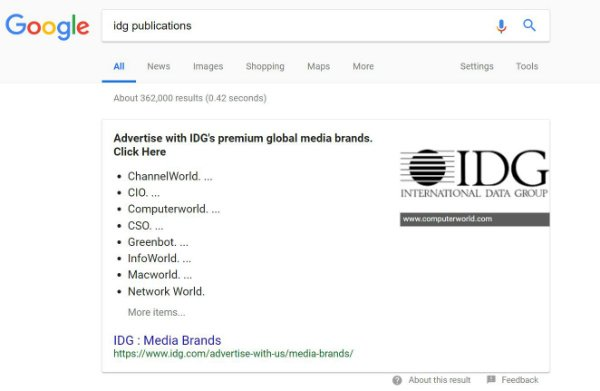 s-IDG Google search snippet
