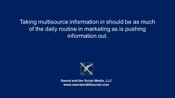 Taking multisource information in should be as much of the daily routine in marketing as is pushing information out.